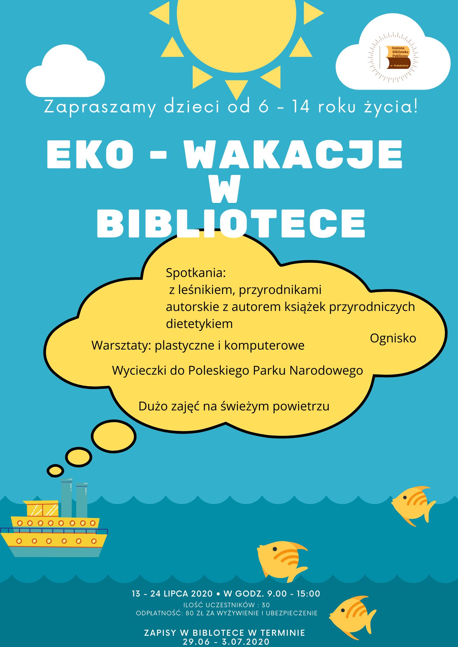 Plakat zajęć wakacyjnych w bibliotece