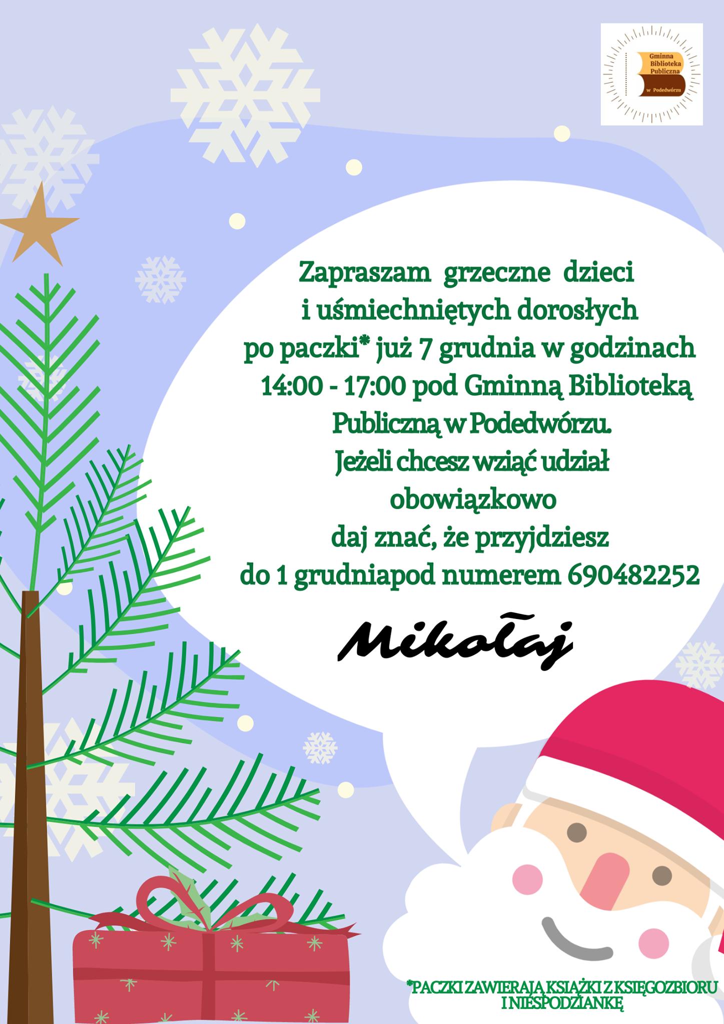Plakat informacyjny do akcji Mikołajki w GBP w Podedwórzu
